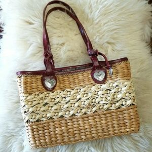 Handbags - NWT Basket Tote with Hearts & Drawstring Lining